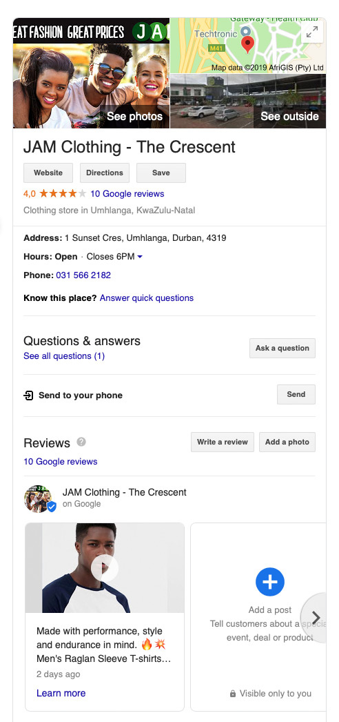 JAM Clothing Google My Business Listing