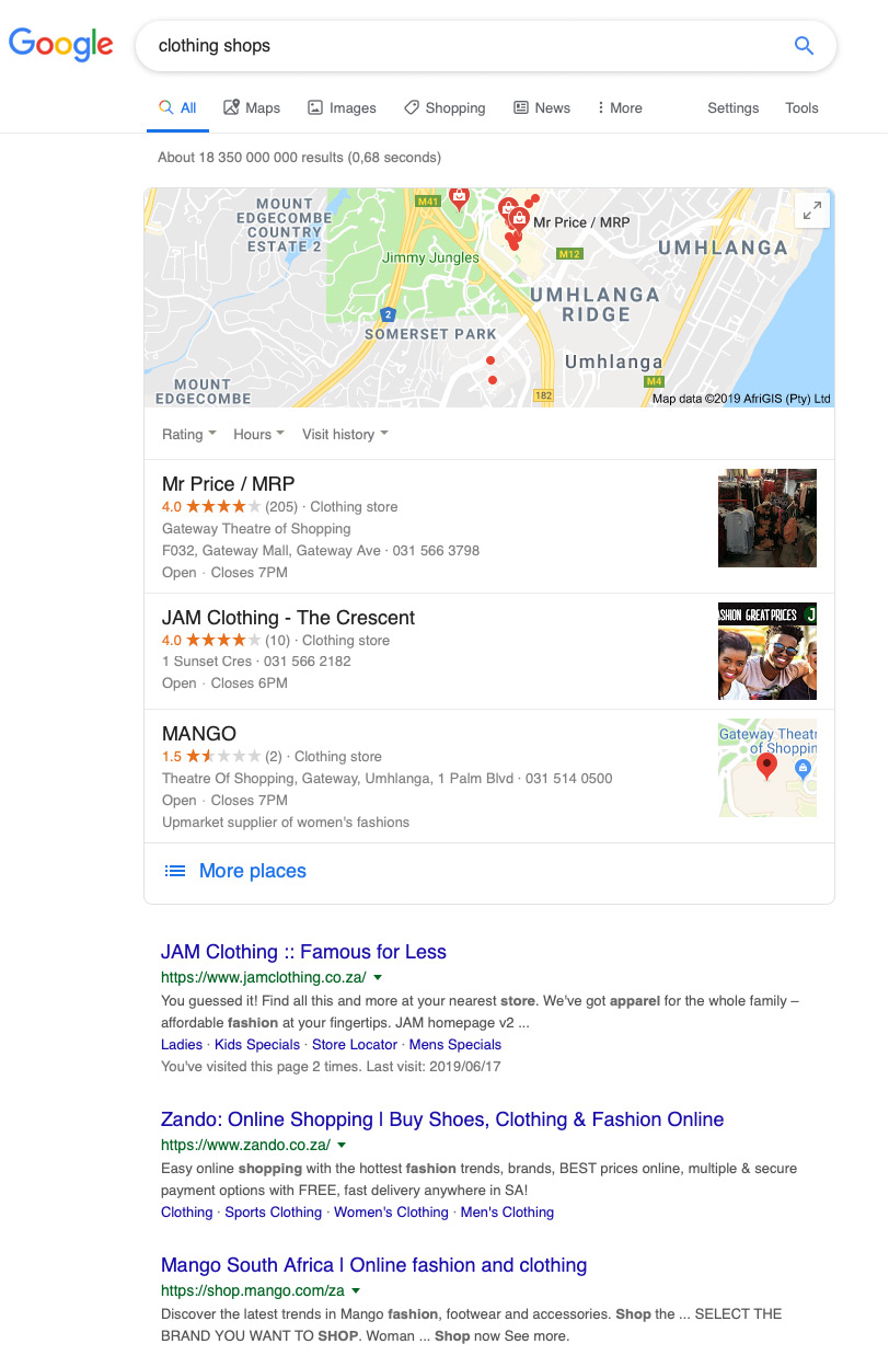 JAM Clothing Map Listing - Google My Business